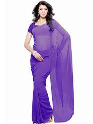 Khushali Fashion Georgette Plain Saree(Purple)_JAZZ544