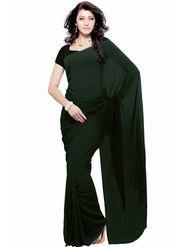 Khushali Fashion Georgette Plain Saree(Dark Olive)_JAZZ589