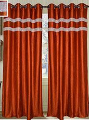 Set of 2 JBG Luxury Diamond Lace Design Door Curtains - Copper- JBG417