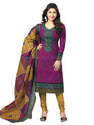 Javuli Printed Cotton Dress Material - Purple & Yellow