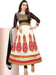 Javuli Georgette Embroidered  Dress Material - White - eliza-36007