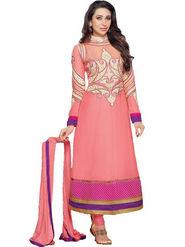 Javuli Georgette Embroidered  Dress Material - Pink - eliza-36011