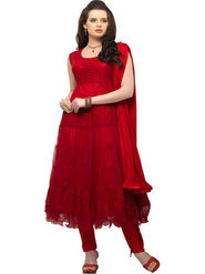 Javuli Georgette Embroidered  Dress Material - Red - net-red
