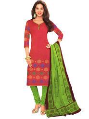 Javuli 100% pure Cotton Printed  Dress material - Red - shree-new208