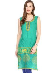 Kyla F Cotton Embroidered Kurti - Green - KYL593