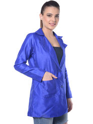 Lavennder Blue Solid Silk Full Sleeve Women Jacket - LJ-24091