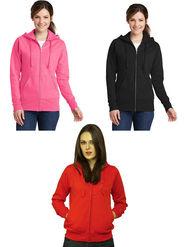 Combo of 3 Lavennder Solid Fleece Pink Black & Red Hooded Sweatshirt -LSS-1056