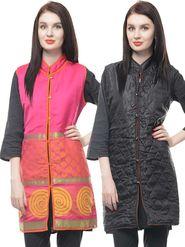 Lavennder Chanderi Quilt Reversible Jacket - Fuchsia
