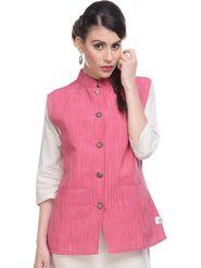 Lavennder Khadi Plain Nehru Jacket - Fushia