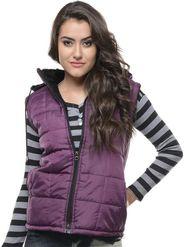 Lavennder Poly Synthetic Leather Plain Jacket - Purple - 5801