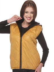Lavennder Poly Synthetic Leather Plain Jacket - Musturd - LK-705