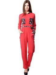 Meira Printed Crepe Jumpsuit - Red -MEWT-1186-A
