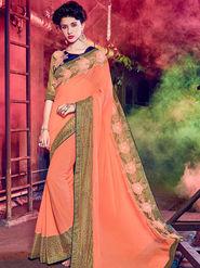 Indian Women Embellished Marble Peach Designer Saree -Mg12505