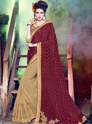 Indian Women Embellished Georgette Maroon & Beige Designer Saree -Mg12513