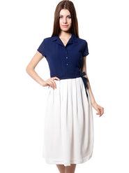 Meira Printed Chiffon Women's Dress - Navy Blue _ MEWT-1126-C-Navy
