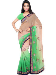 Nanda Silk Mills Embroidered Georgette Green Saree -am10