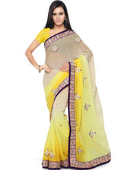 Nanda Silk Mills Embroidered Georgette Yellow Saree -am16