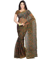 Nanda Silk Mills Tissue Printed Saree - Green - BARCODE-ROSE-GREEN