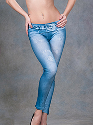 Nitein Big Buckle Print Jegging - Blue
