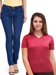 Oleva Combo Of  2  Blue Denim And Maroon T-Shirt  ONC-07
