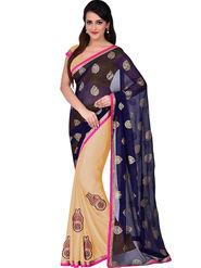 Shonaya Embroidered Satin Chiffon Beige & Blue Saree -Pimag-138-Cream