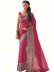 Nanda Silk Mills Plain Cotton Pink Saree -Petal