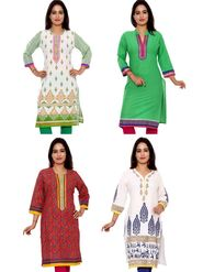 Set of 4 Priya Fashions Sanganeri & Jaipuri Cotton Printed Kurtis - PF101K4