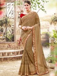 Indian Women Embroidered Jacquard Gold Saree -Ra21007