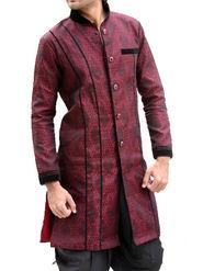 Runako Regular Fit Elegant Silk Brocade Sherwani For Men - Maroon_RK1046