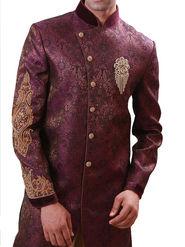 Runako Regular Fit Elegant Silk Brocade Sherwani For Men - Purple_RK1072