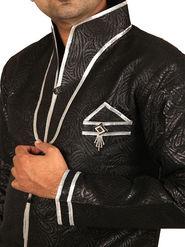 Runako Regular Fit Silk Brocade Kurta Pajama For Men - Black