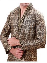 Runako Regular Fit Silk Brocade Kurta Pyjama For Men - Celadon