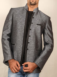 Runako Printed Regular Full sleeves Party Wear Blazer For Men - Grey