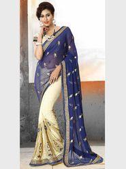 Viva N Diva Pure Georgette Floral Embroidery Saree -Riwaaz-Again-9002