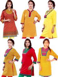 Combo of 6 Bazar Villa Cotton Printed Kurtis - BCE2079_42