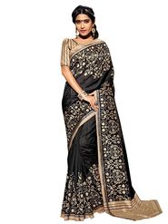Shonaya Printed Black Bhagalpuri Art Silk Saree SCBGP-8204