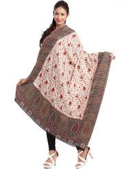 Aapno Rajasthan Pashmina  Off White & Brown Shawl -Sh1416