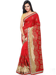 Nanda Silk Mills Embroidered Art Silk Red Saree -am21