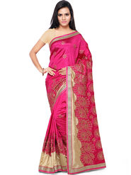 Nanda Silk Mills Embroidered Art Silk Pink Saree -am24