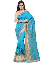 Nanda Silk Mills Embroidered Art Silk Turquoise Blue Saree -am25