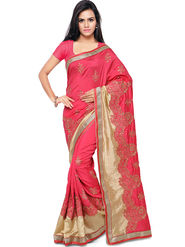 Nanda Silk Mills Embroidered Art Silk Magenta Saree -am26