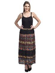 Arisha Cotton Printed Skirt SKT9011-Multi-Blk