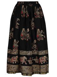 Amore Printed Cotton Skirt -Skv163Bk
