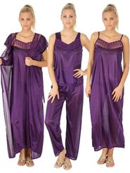 Combo Of 4 Branded Satin Plain Nightwear -SLS-FNS-7