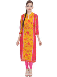 Shop Rajasthan Printed Cotton Long Straight Kurti -Sre2316