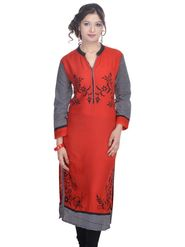 Shop Rajasthan 100% Pure Cotton Printed Kurti - Red - SRE2226