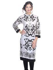 Shop Rajasthan 100% Pure Cotton Printed Kurti - White - SRE2230