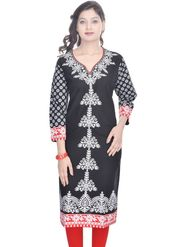 Shop Rajasthan 100% Pure Cotton Printed Kurti - Black - SRE2251