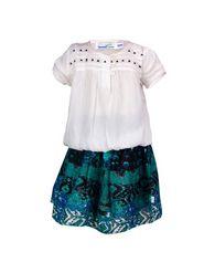 ShopperTree 100% VISCOSE Plain Girls Skirt Set - White