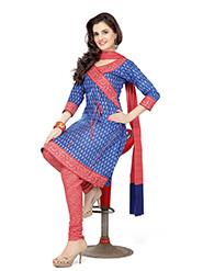 Silkbazar Printed Cotton Dress Material - Blue